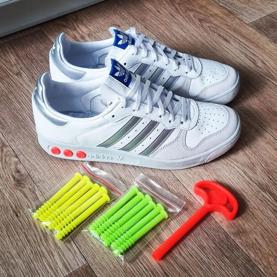 Adidas G.S blanche argent vert fluo et orange (2)