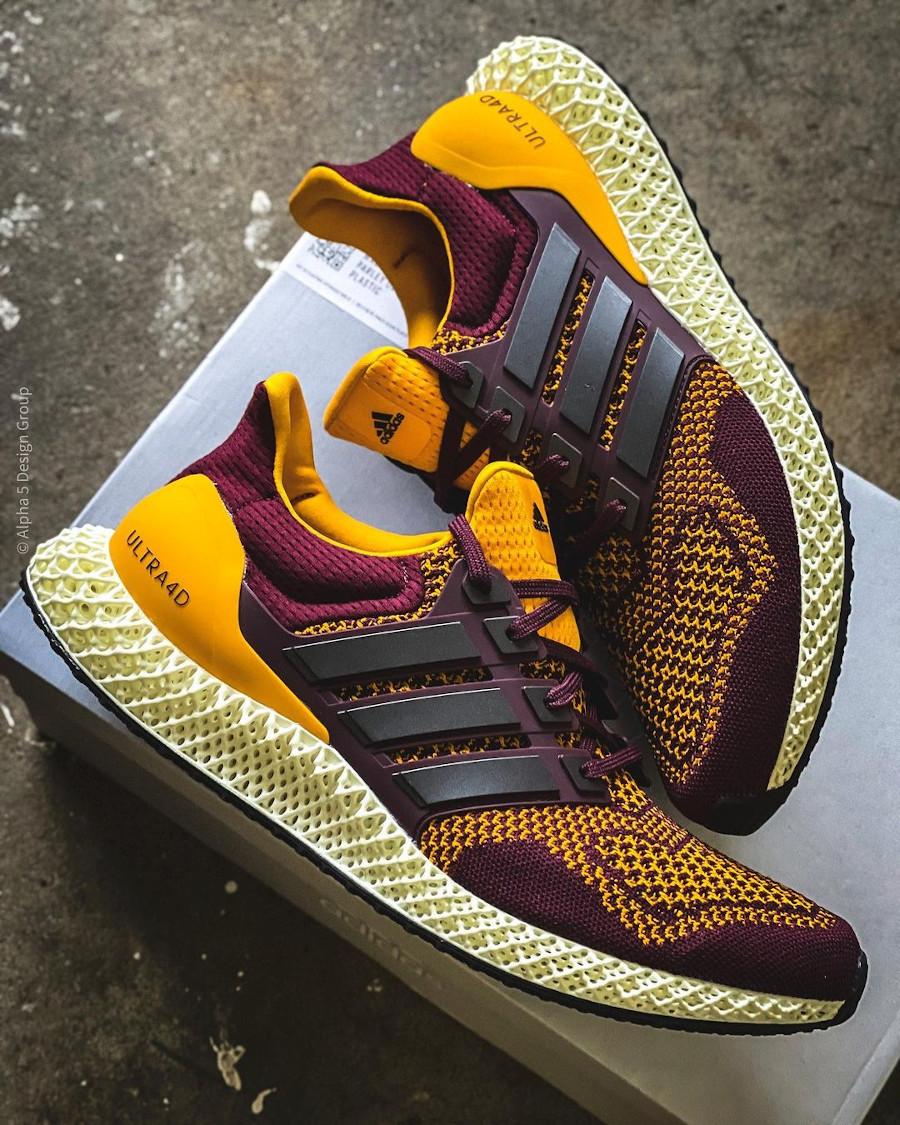 Adidas Ultra 4D bordeaux et jaune (1)