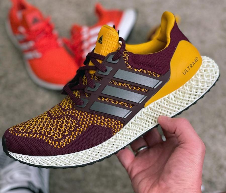 Adidas Ultra 4D bordeaux et jaune (2)