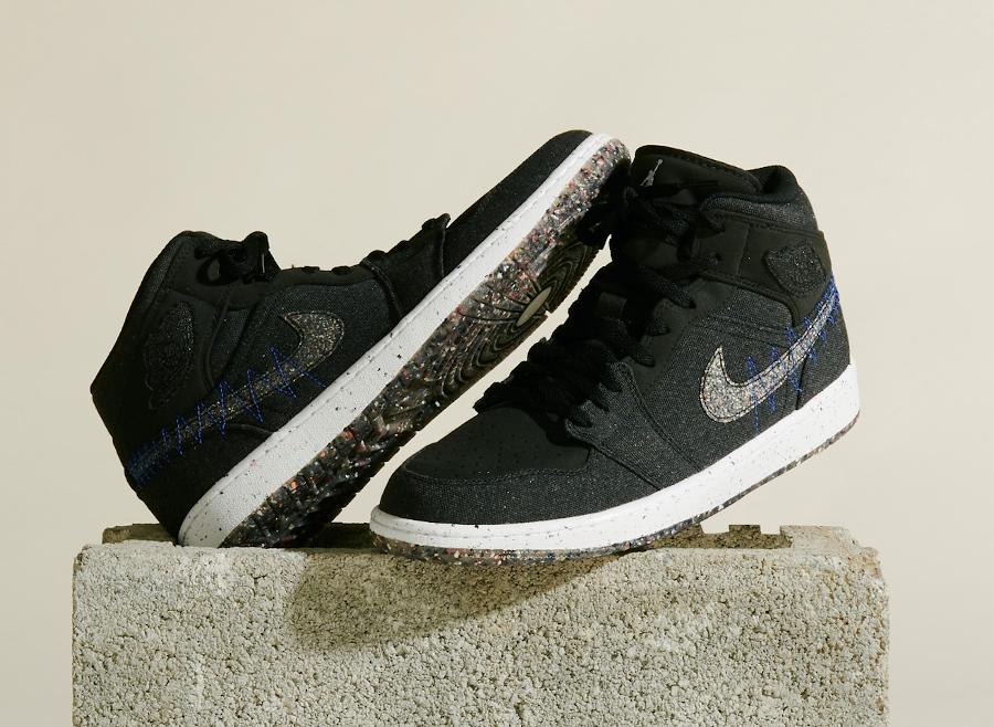 Air Jordan 1 Mid Grind en toile noire (1)