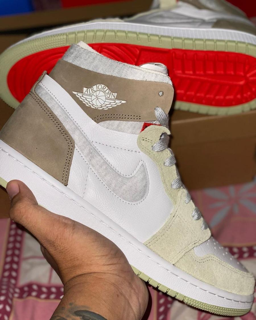 Air Jordan One High Zoom Comfort blanche marron grise et verte (1)