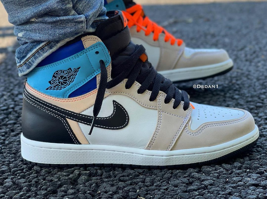 Air Jordan One montante multicolore on feet (2)