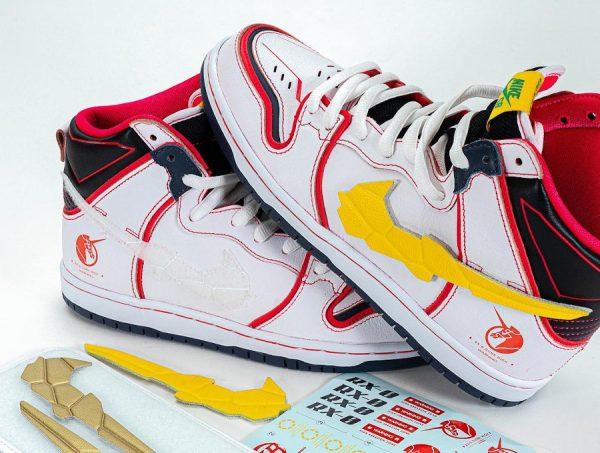 Bandai x Nike Dunk High Pro SB Mobile Suit blanche (couv)