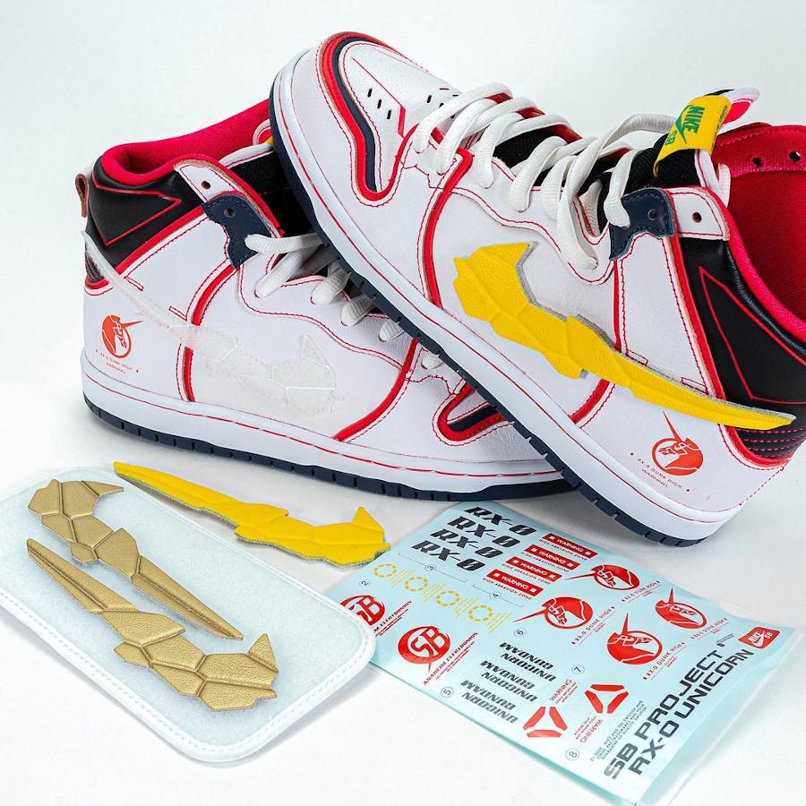 Bandai x Nike Dunk High Pro SB Mobile Suit blanche