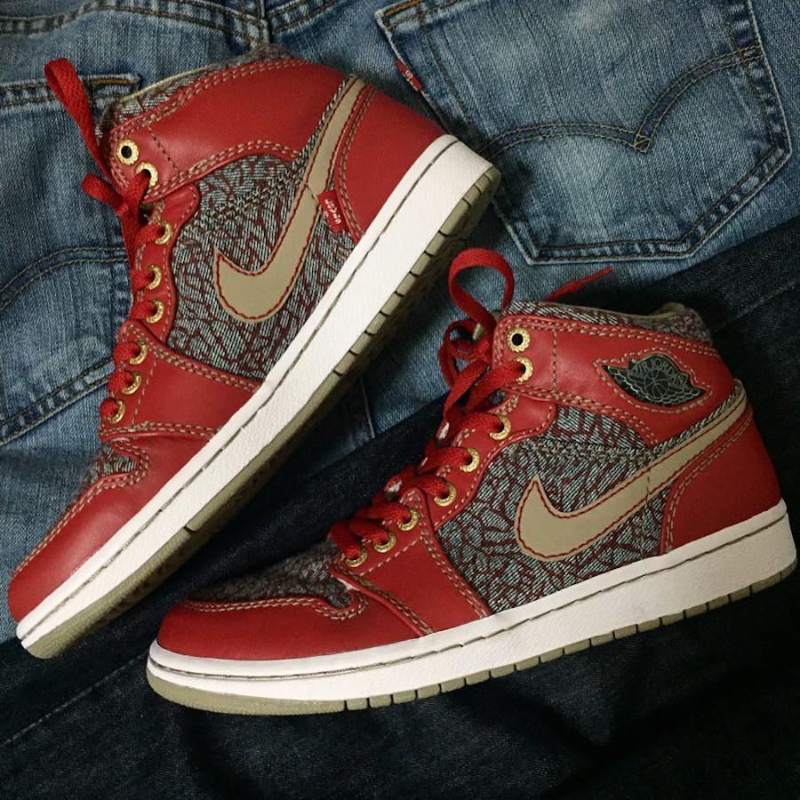 Levis x Air Jordan 1 Retro Fire Red Cement