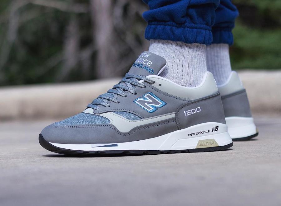 New Balance 1500 grise et bleu on feet