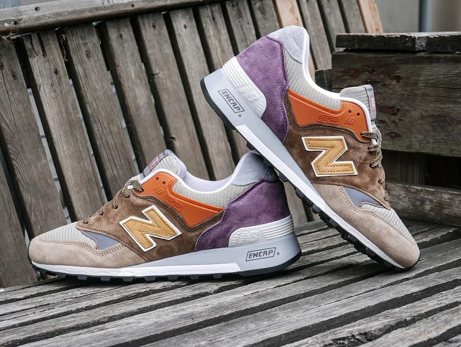 New Balance 574 marron beige orange et violet (3)