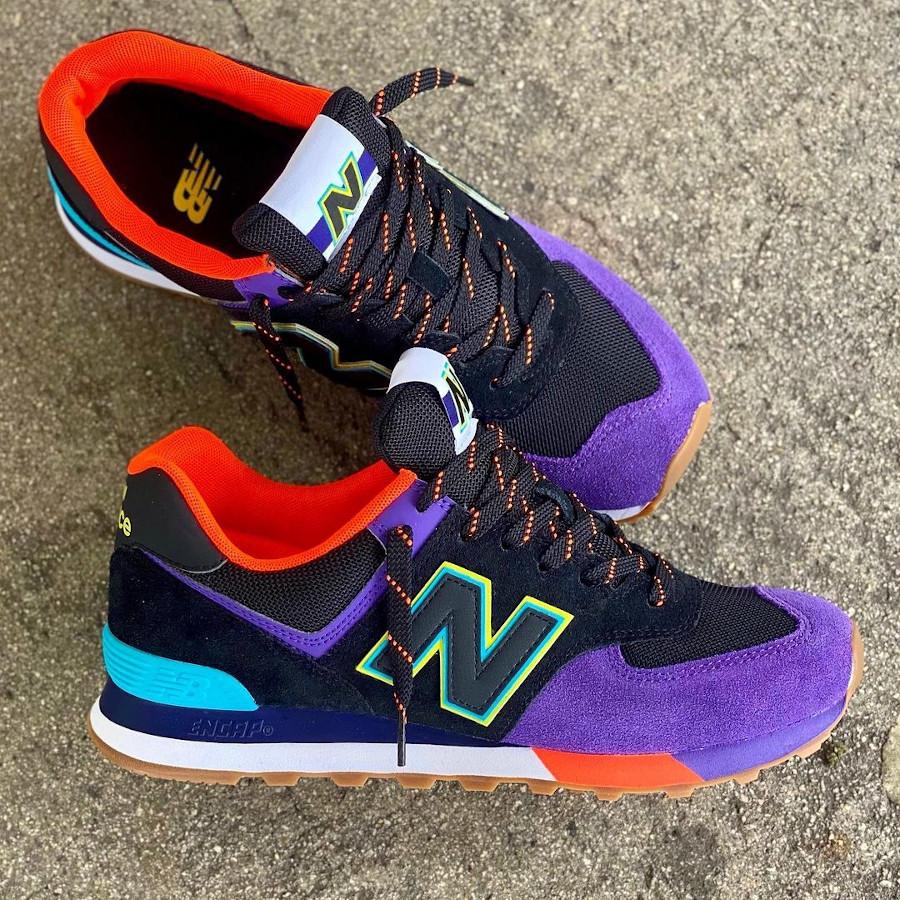 New Balance 574 noire violet et orange (1)