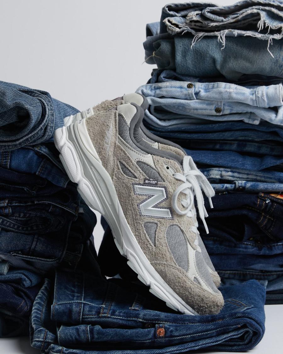 New Balance 990V3 en jeans gris (daim poilu) (1)