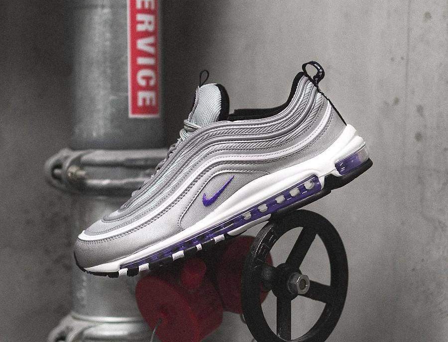 Nike AirMax 97 gris argent métallique et pourpre