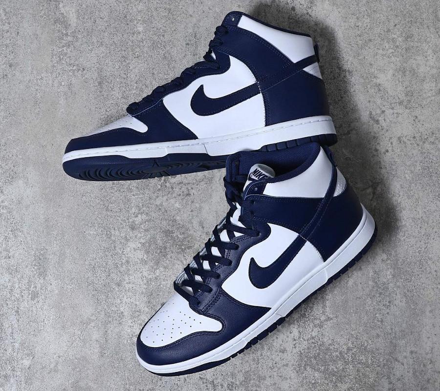 Nike Dunk Hi blanche et bleu foncé (2)