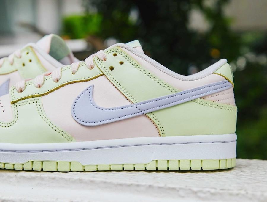 Nike Dunk Low 2021 vert pomme rose et violet doux (2)