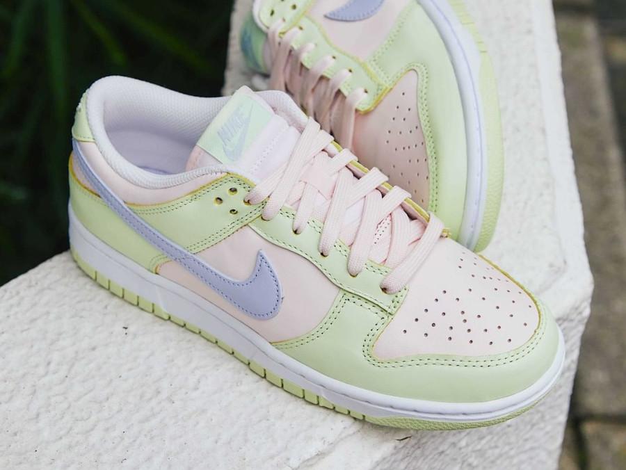 Nike Dunk Low 2021 vert pomme rose et violet doux (3)
