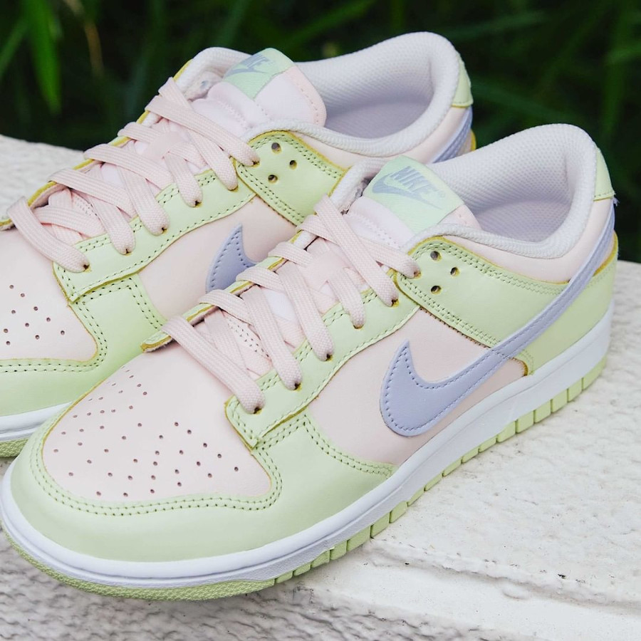 Nike Dunk Low 2021 vert pomme rose et violet doux (4)
