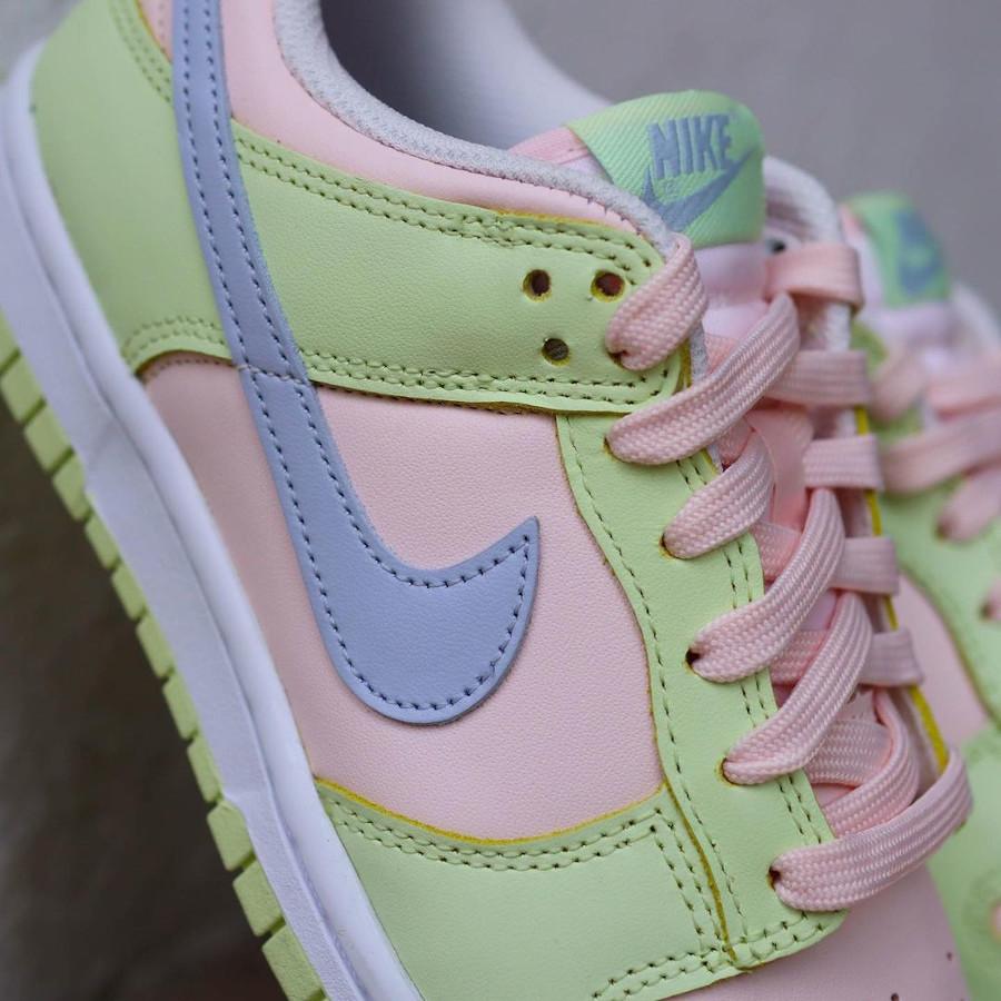 Nike Dunk Low 2021 vert pomme rose et violet doux (5)