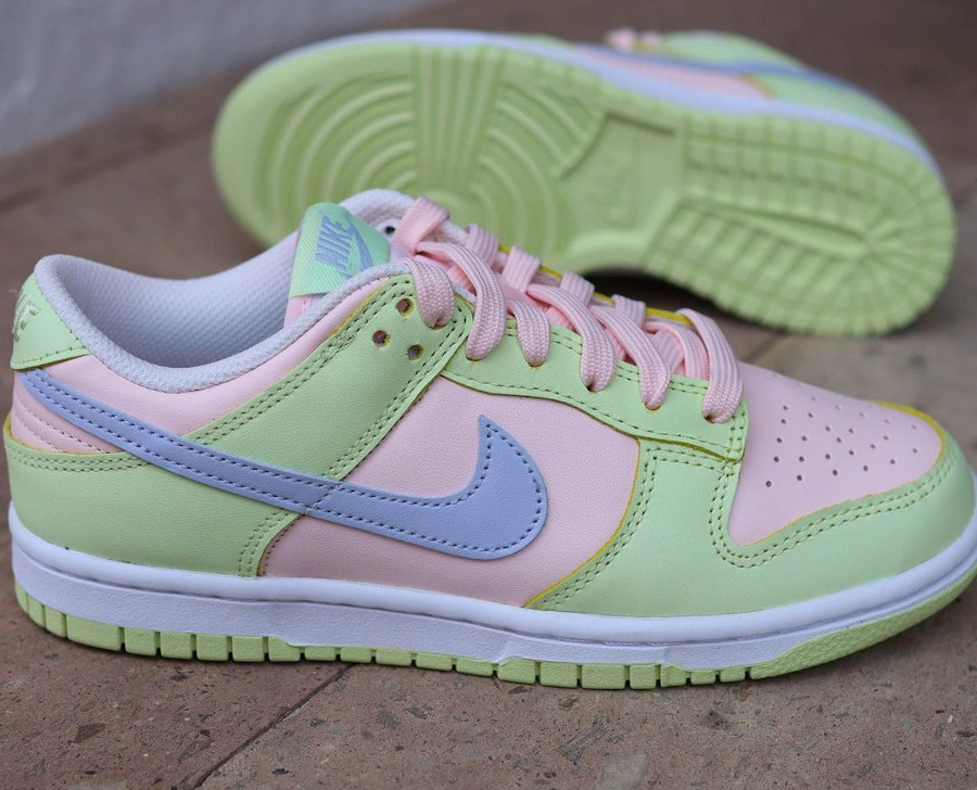 Nike Dunk Low 2021 vert pomme rose et violet doux (6)