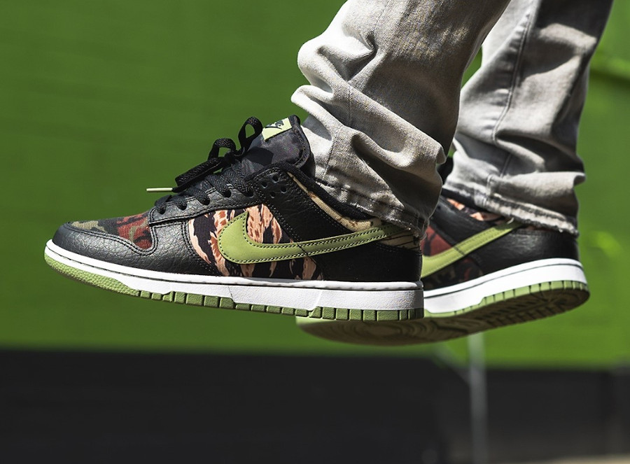 Nike Dunk Low SE Black Multi Crazy Camo Digi Tiger on feet