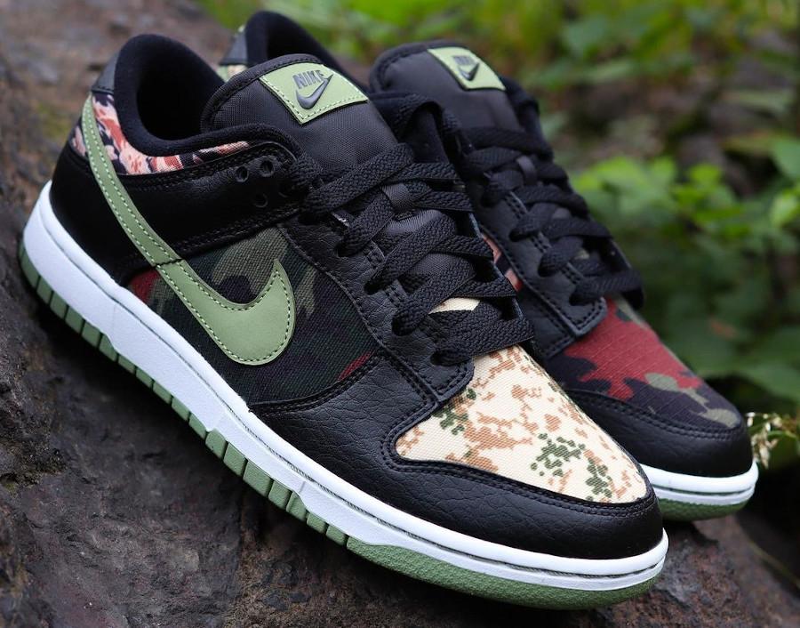 Nike Dunk Low SE camouflage vert noir et orange (1)