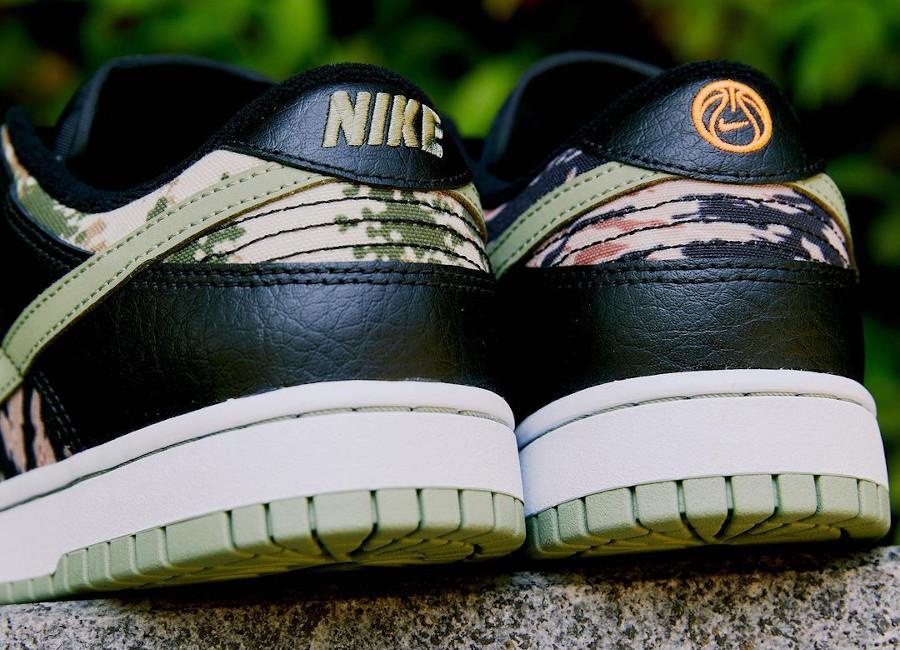Nike Dunk Low SE camouflage vert noir et orange (3)