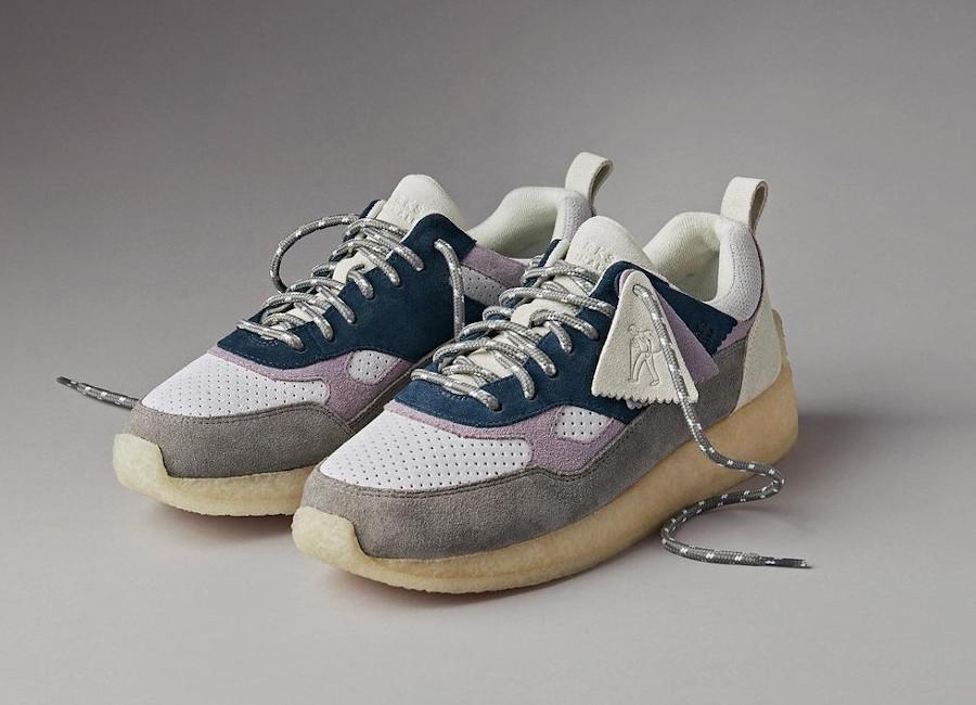 RF x Clarks Lockhill en suède gris violet et bleu marine (1)
