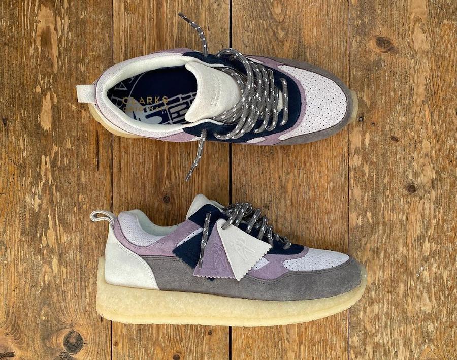 RF x Clarks Lockhill en suède gris violet et bleu marine (3)