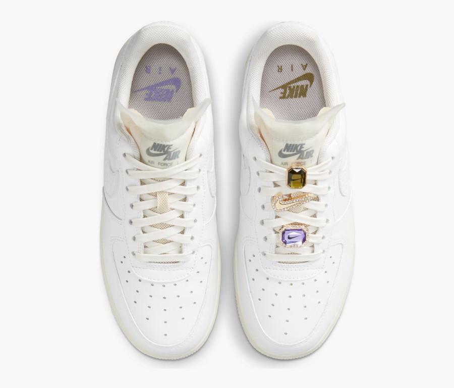 Women's Nike Air Force 1 blanche avec des pierres précieuses (4)