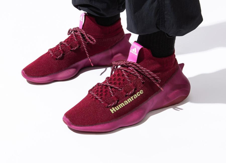 Adidas NMD Hu Sichona Maroon on feet (3)