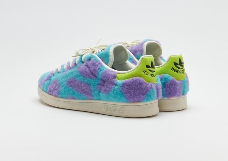 Adidas Stan Smith en peluche violette et bleue (1)