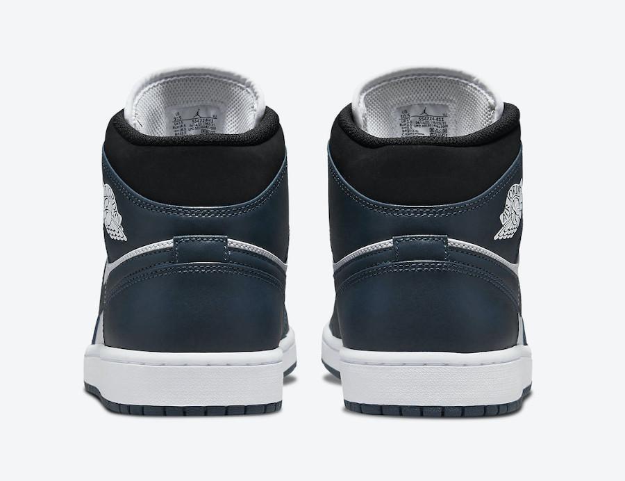 Air Jordan One Mid blanche et turquoise foncé (2)
