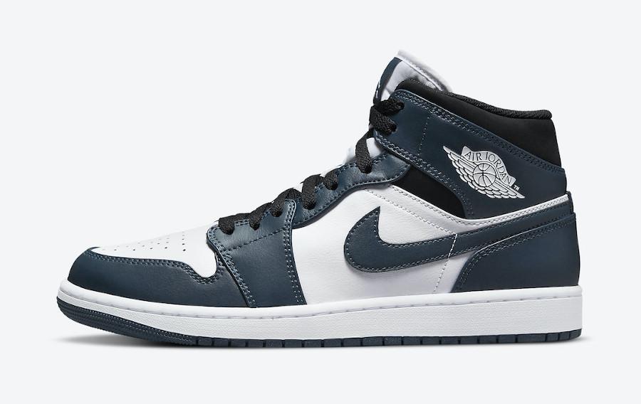 Air Jordan One Mid blanche et turquoise foncé (5)