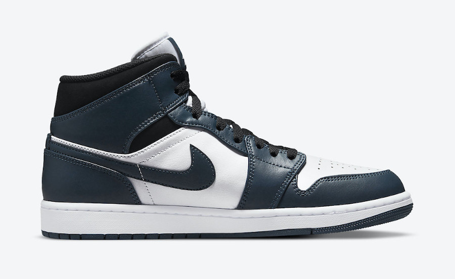 Air Jordan One Mid blanche et turquoise foncé (7)