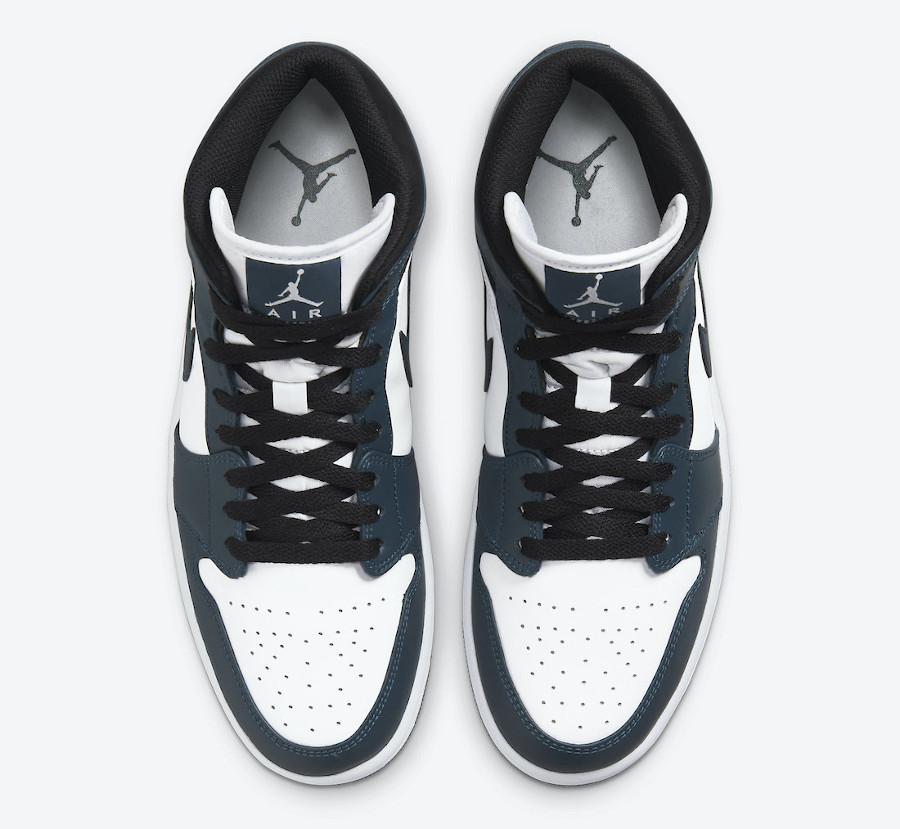 Air Jordan One Mid blanche et turquoise foncé (8)