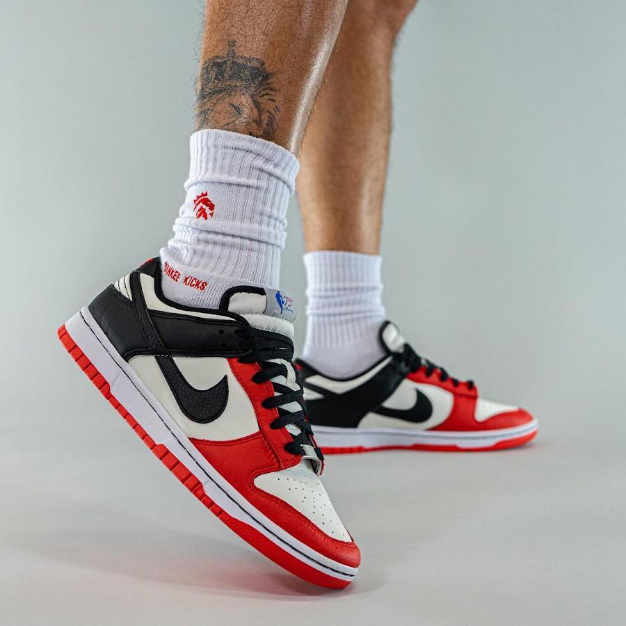 NBA x Nike Dunk Low Retro EMB Chicago Bulls on feet