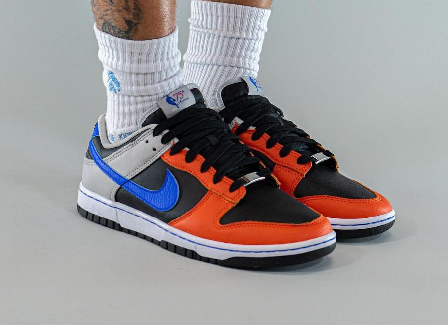 NBA x Nike Dunk Low Retro EMB New York Knicks on feet