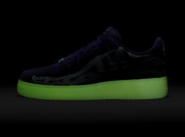 Nike Air Force 1 AF1 Purple Skeleton Halloween 2021
