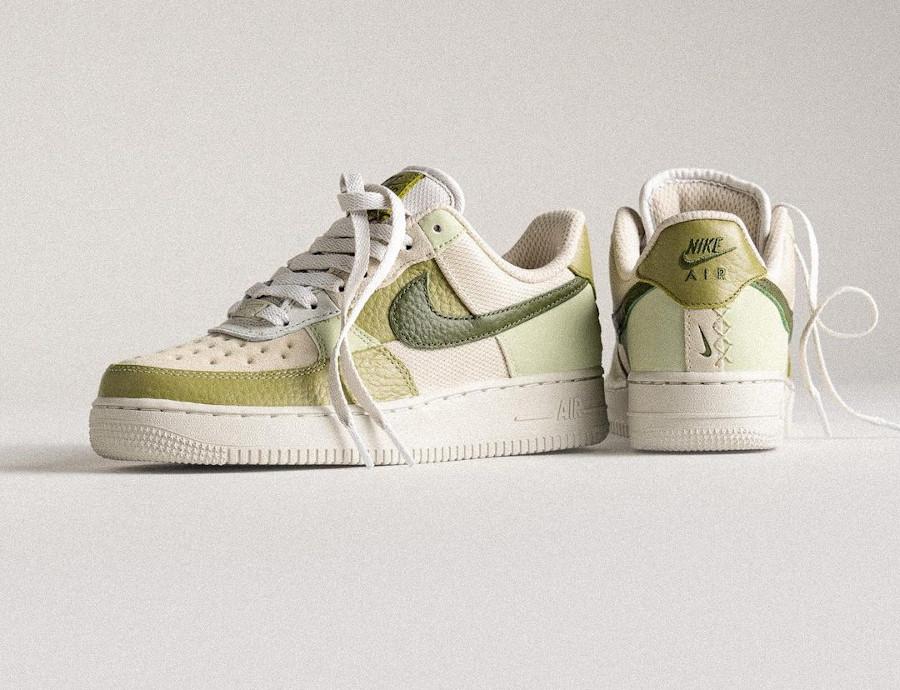 Nike Air Force 1 Low Scrap verte et beige (4)