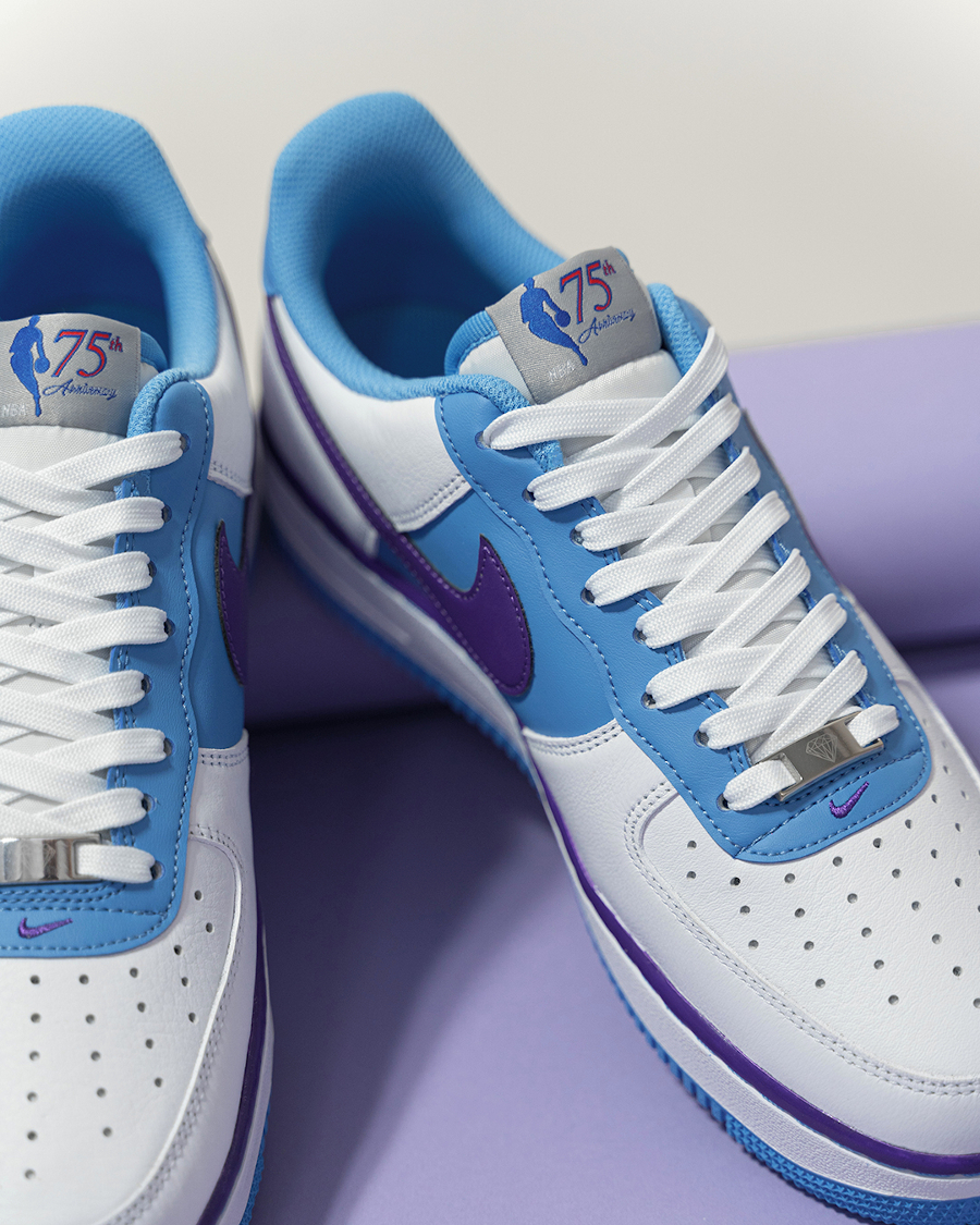 Nike Air Force One L.A blanche bleu et violette (3)