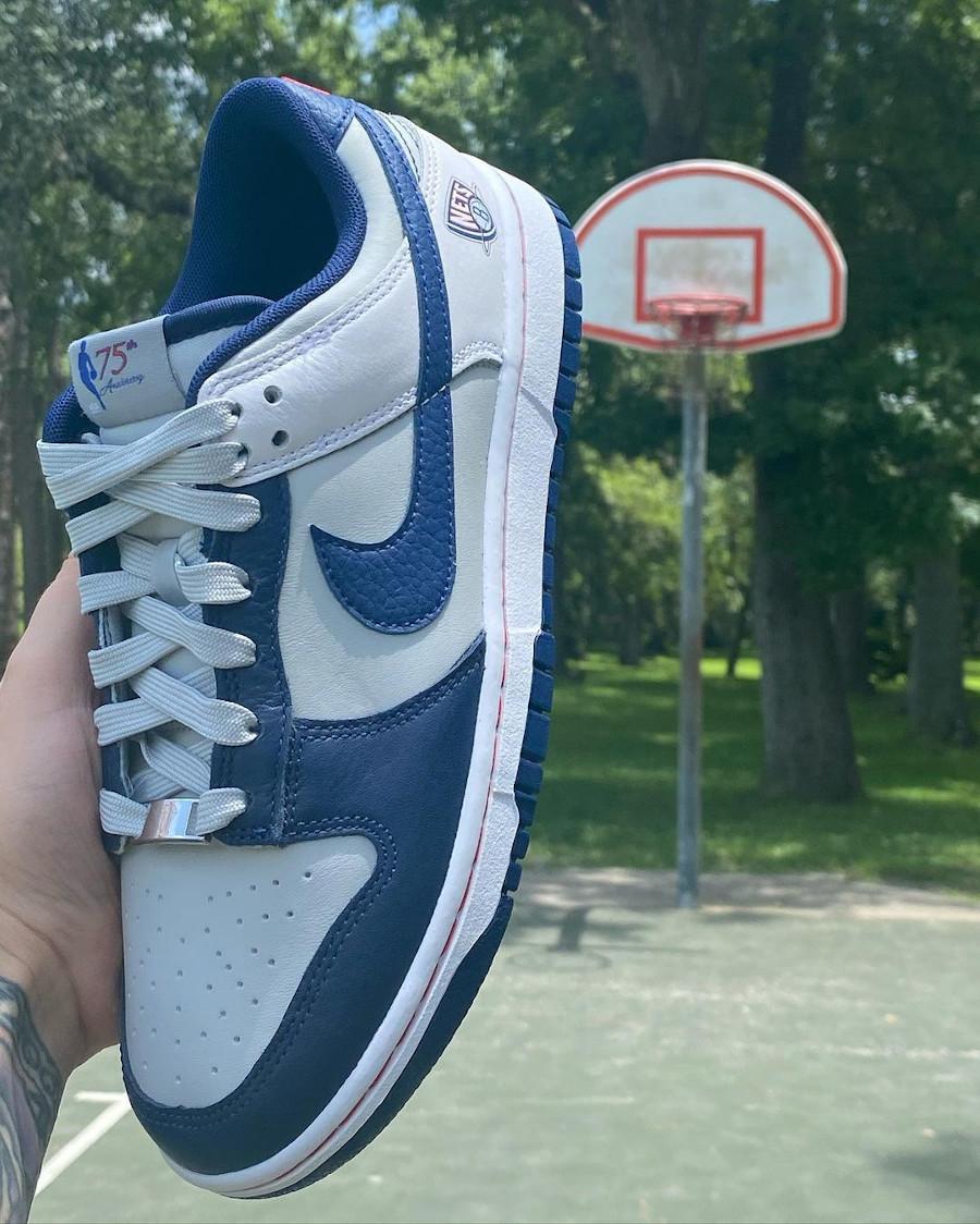 Nike Dunk Low 2021 blanche grise et bleu foncé (1)