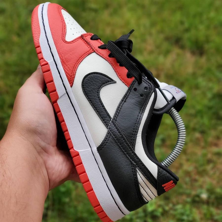 Nike Dunk Low 2021 blanche rouge et noire (3)