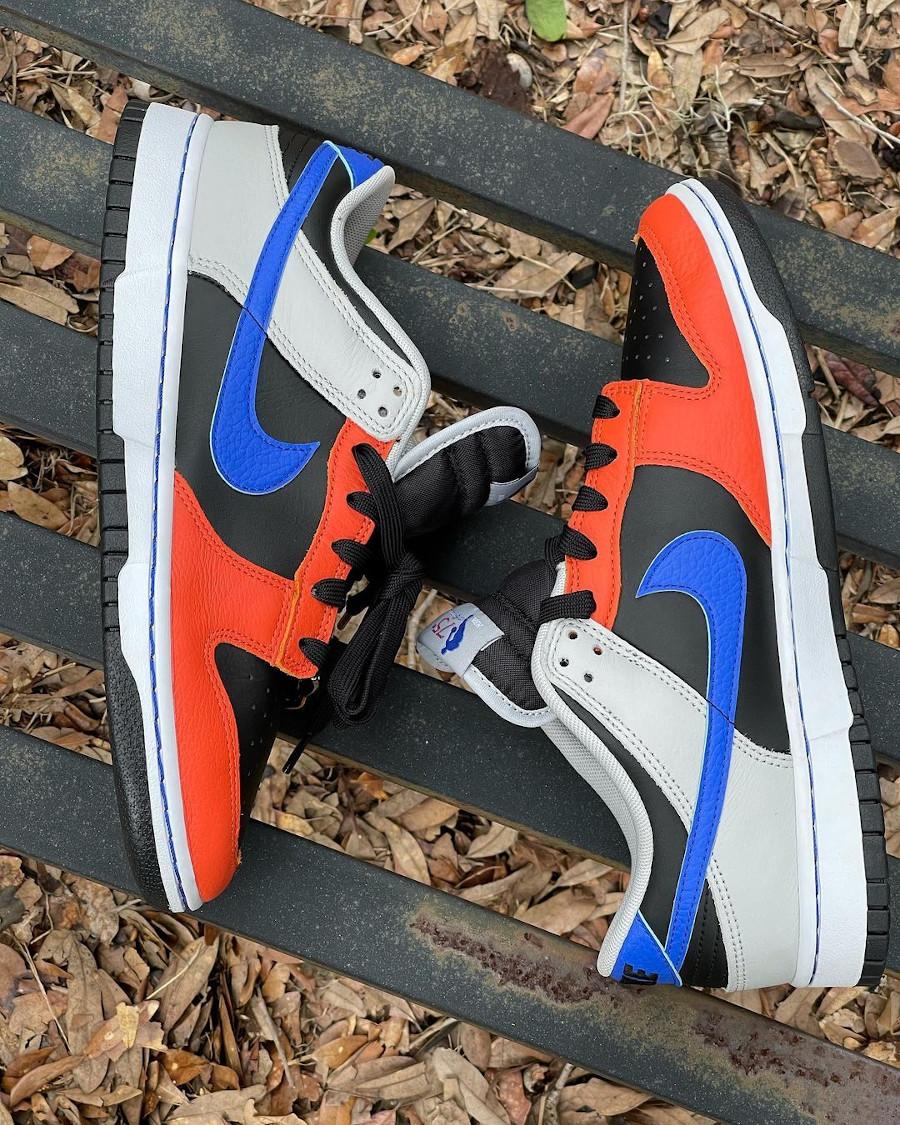 Nike Dunk Low 2021 noire grise bleue et orange (3)