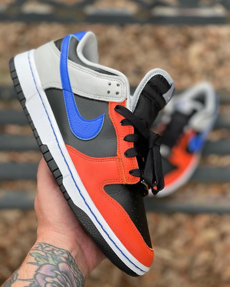 Nike Dunk Low 2021 noire grise bleue et orange (4)