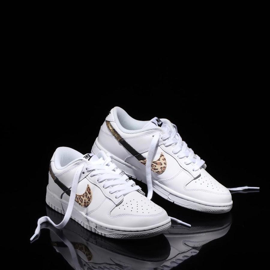 Nike Dunk Low blanche pour fille imprimé léopard serpent et cuir craquelé (1)