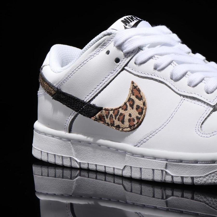 Nike Dunk Low blanche pour fille imprimé léopard serpent et cuir craquelé (3)