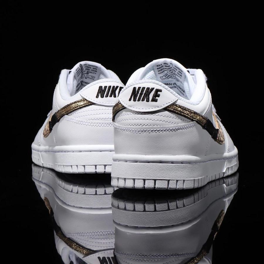 Nike Dunk Low blanche pour fille imprimé léopard serpent et cuir craquelé (4)