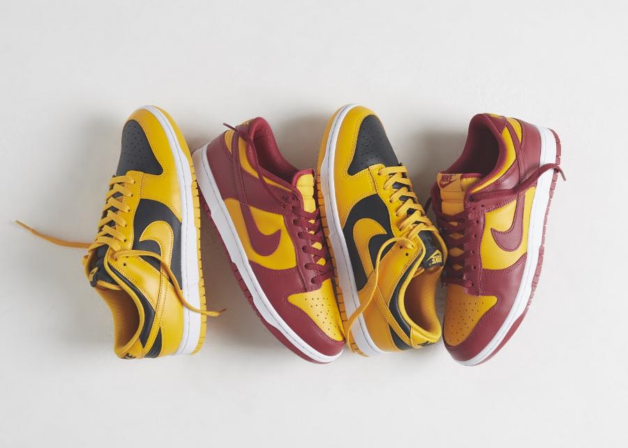 Nike-Dunk-Low-jaune-et-bordeaux-2