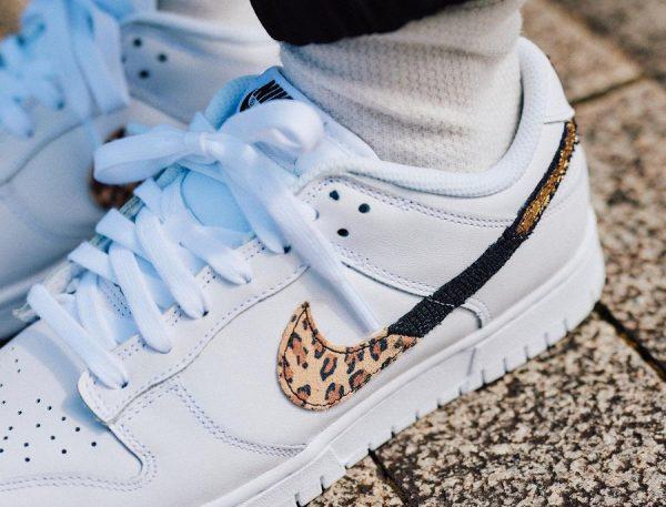Nike Wmns Dunk Low SE Animal Instinct Swoosh White (couv)