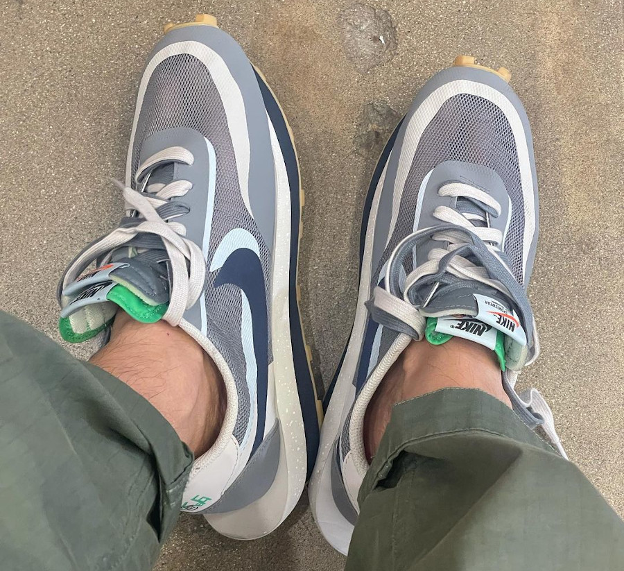 Nike x Sacai x Clot LDWaffle KOD 2 Cool Grey on feet DH3114-001